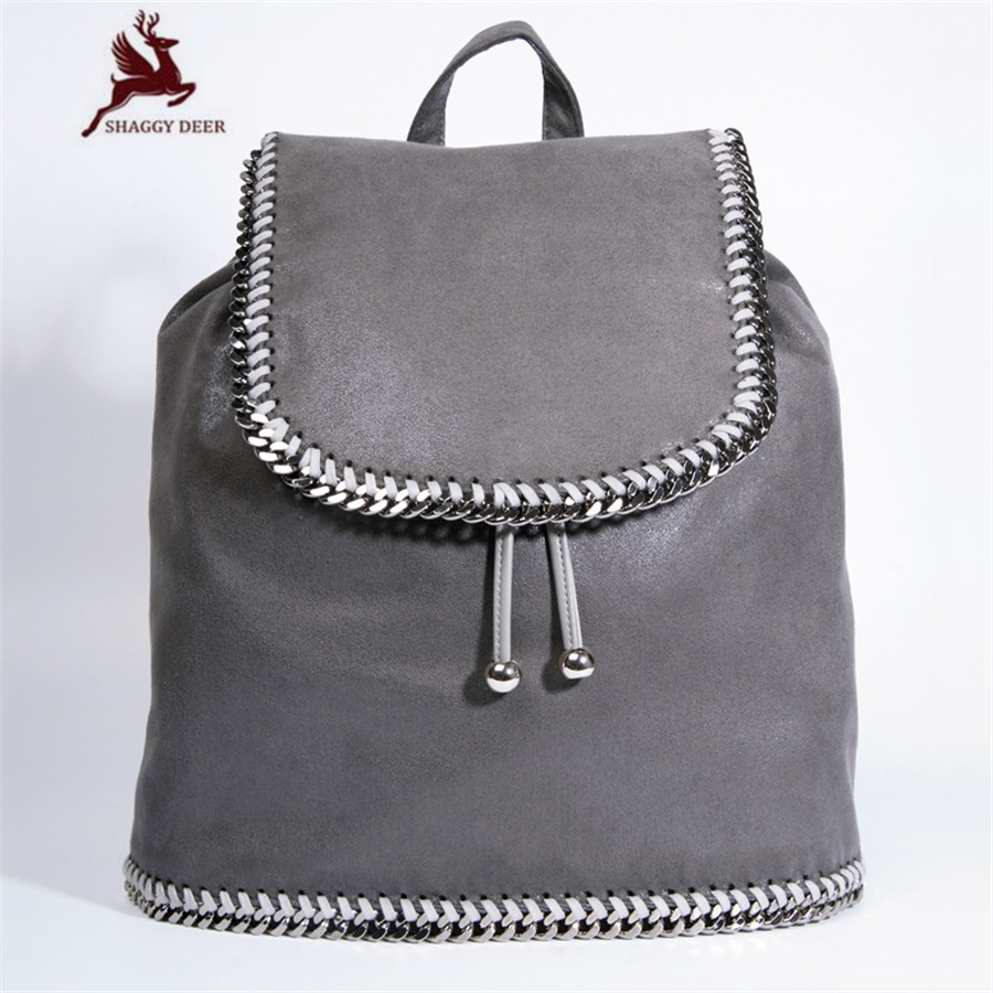 Large Size Shaggy Deer Brand With Cover Bucket Backpack Hasp Drawstring Chain Backpack School College cute Daily Bag mini gray shaggy deer pvc quilted chain bag with cover real picture