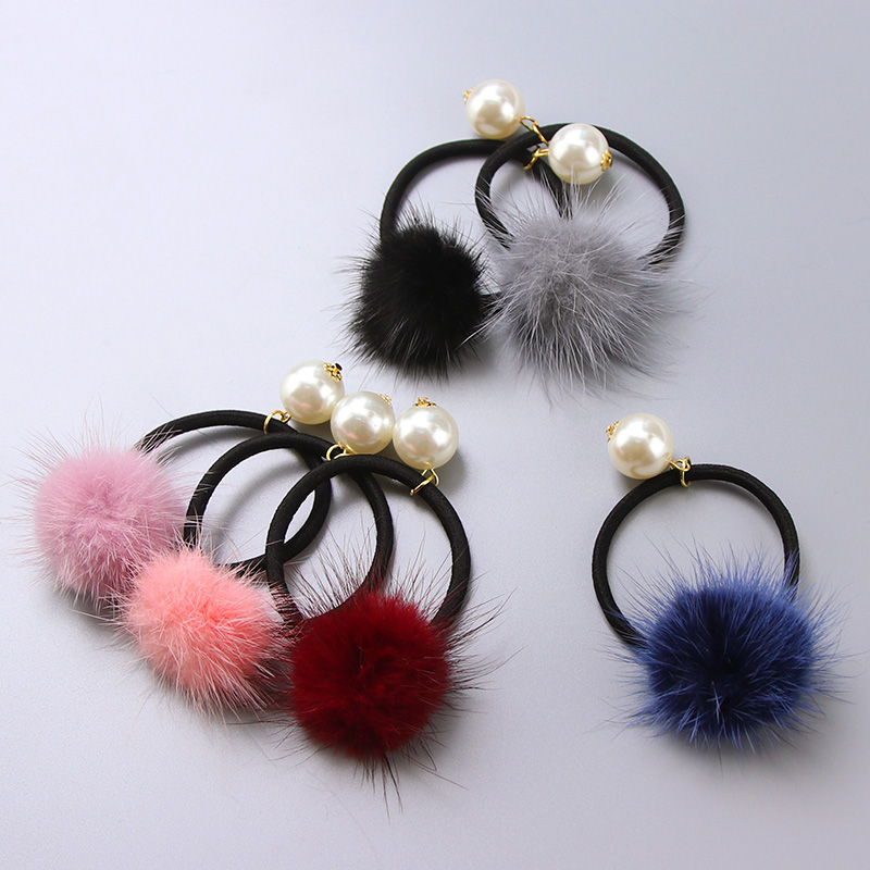 2017 New Winter Women Real Mink Hair Ball Pearl Elastic Hair Bands Hair Tie Girls Ponytail Holder Hair Accessories Rubber Bands m mism 2pcs new rhinestone bead hair elastic band hair accessories rubber tie gum ponytail holder scrunchy for women girls