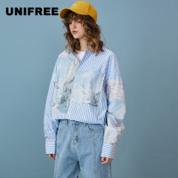 UNIFREE 2019 summer new arrival shirt women blue and white striped loose long sleeved vertical stripes woman clothes UYY191D001