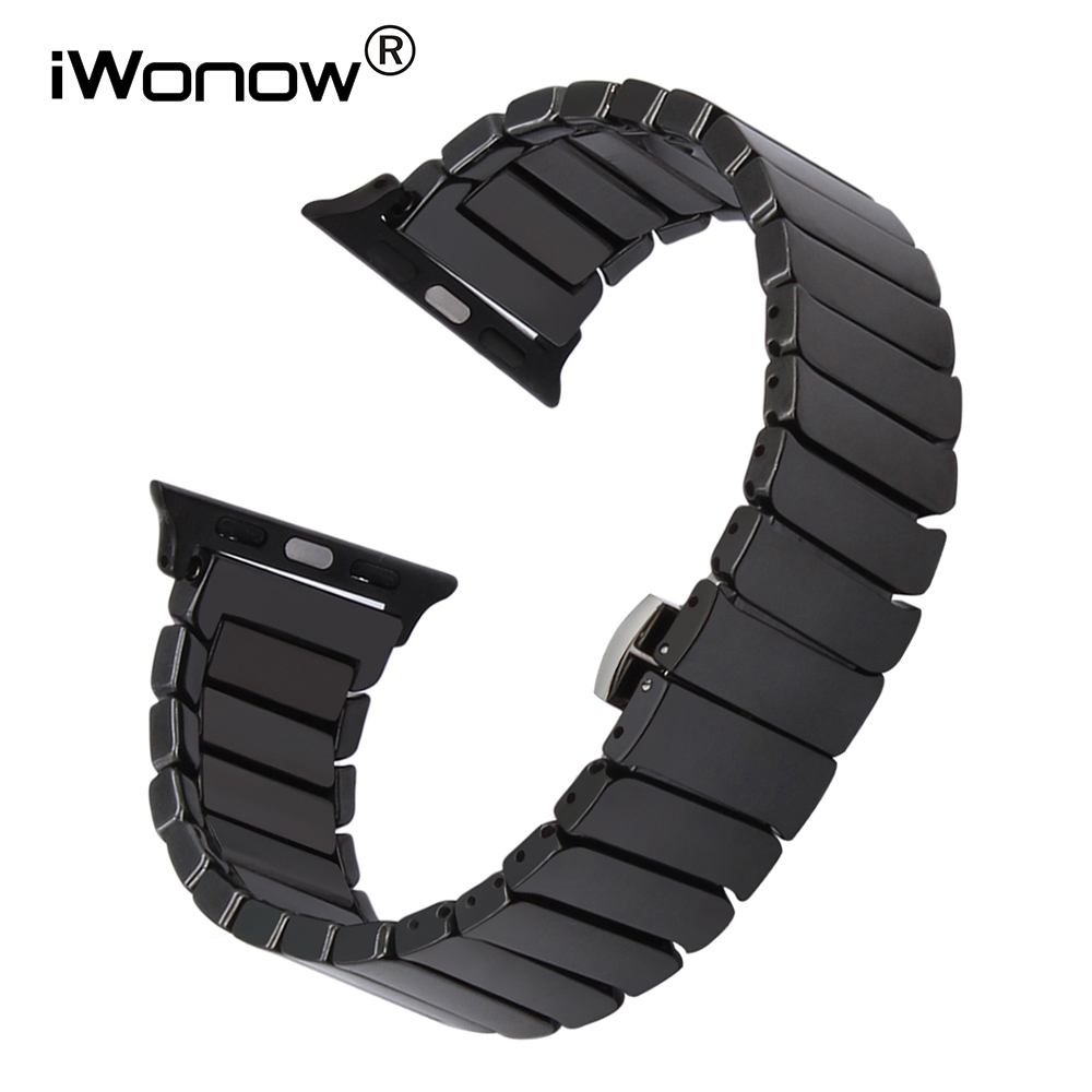 Full Ceramic Watchband For IWatch Apple Watch 38mm 40mm 42mm 44mm Series 5 4 3 2 1 Band Steel Butterfly Clasp Strap Bracelet