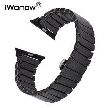 Pulseira de cerâmica completa para iwatch apple watch 38mm 40mm 42mm 44mm série 5 4 3 2 1 banda aço borboleta fecho pulseira