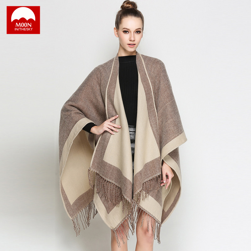 Scarves for Women Shawls Winter Warm Scarf Moon In The Sky Brand Soft Fashion Thicken Plaid Wraps Blanket Wool Cashmere Stoles-in Women's Scarves from Apparel Accessories