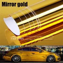 Qualidade Premium stretchable espelho Espelho do Cromo do ouro Folha Folha Envoltório Filme de Rolo Adesivo Decalque Do Carro de Vinil flexível