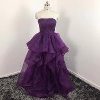 Vincaサニーエレガントオーガンザ紫ウエディングドレス恋人ノースリーブ女性ウエディングイブニングドレスロングパーティーシャーリングドレスリアルピック