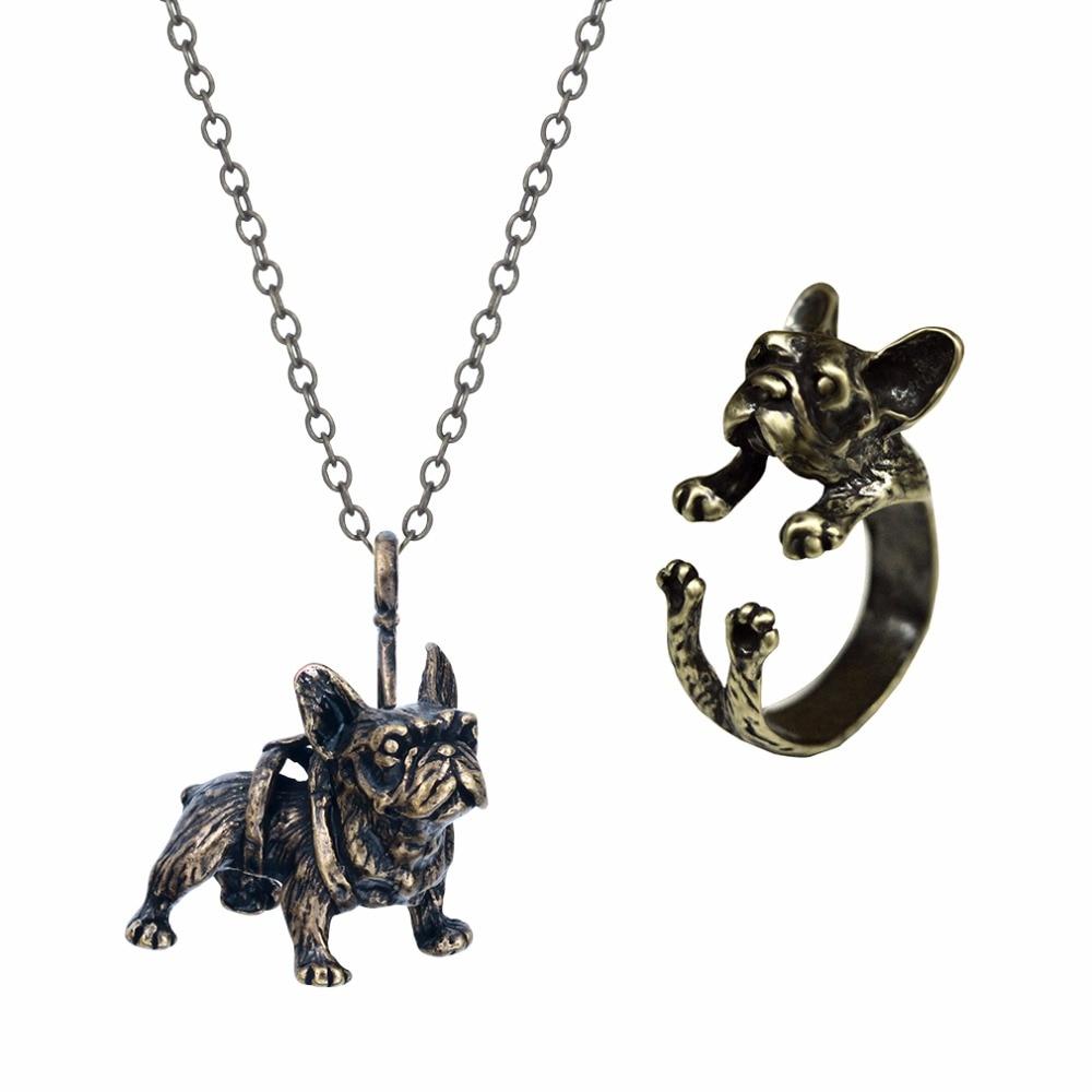 Kinitial Retro Animal French Bulldog Pendant Necklace Ring Jewelry Set Fashion Animal Adjustable Rings for women Wedding Sets