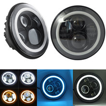 7inch Round Black H4 LED Headlight Halo Ring DRL Light for Car Jeep Wrangler JK