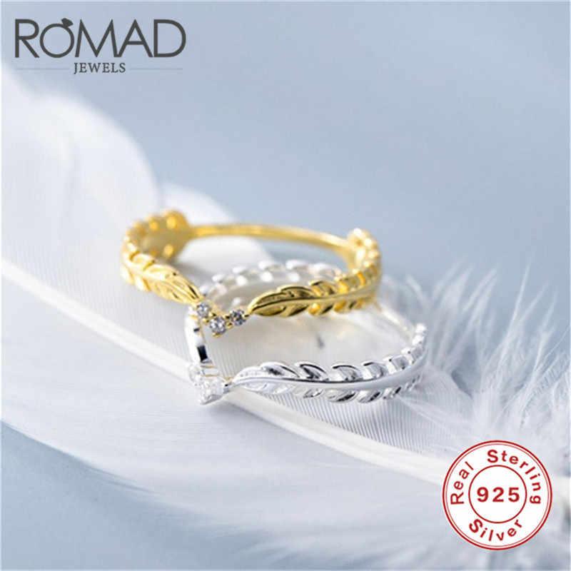 ROMAD 925 เงินสเตอร์ลิงน่ารัก Dainty แหวนบางสำหรับผู้หญิงสีเหลืองทองข้าวสาลี Feather Leaf Ring หญิง CZ Crown แหวน R4