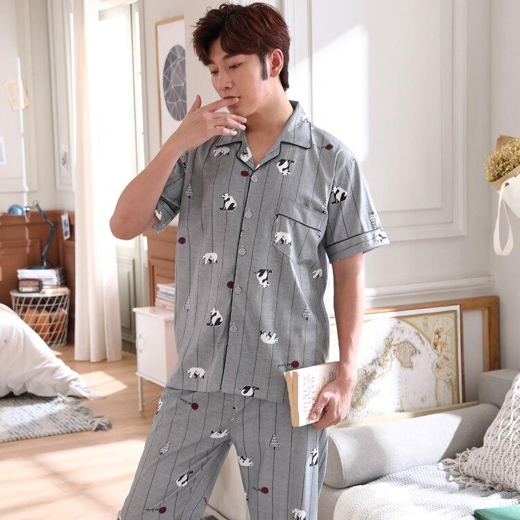 Men's Pajamas Nightwear Sleepwear Male Korean Cotton Summer Short For Man Loose Cardigans