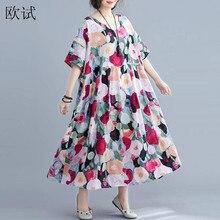 Vestido de verão feminino, plus size 4xl 5xl estampa floral vestido boho vestido de linho vestido longo de algodão solto grande robe vestido de praia 2019 longue