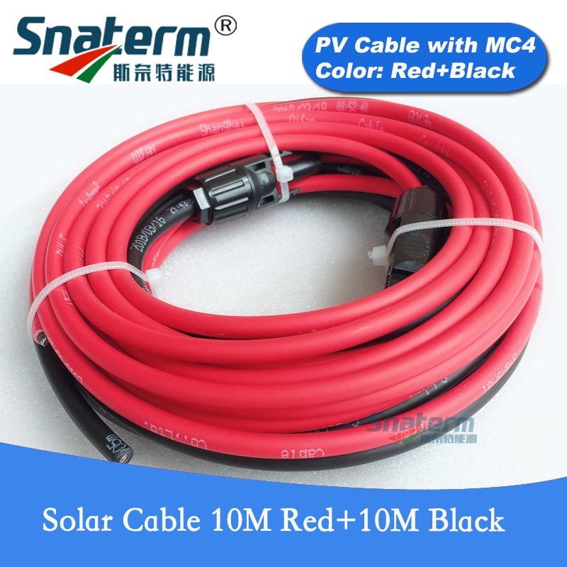 20 Meters Solar Panel Extension PV Cable(Black 10Meters And Red 10Meters)with MC4 Connector Solar Cable 6/4/2.5 Mm2 10/12/14 AWG