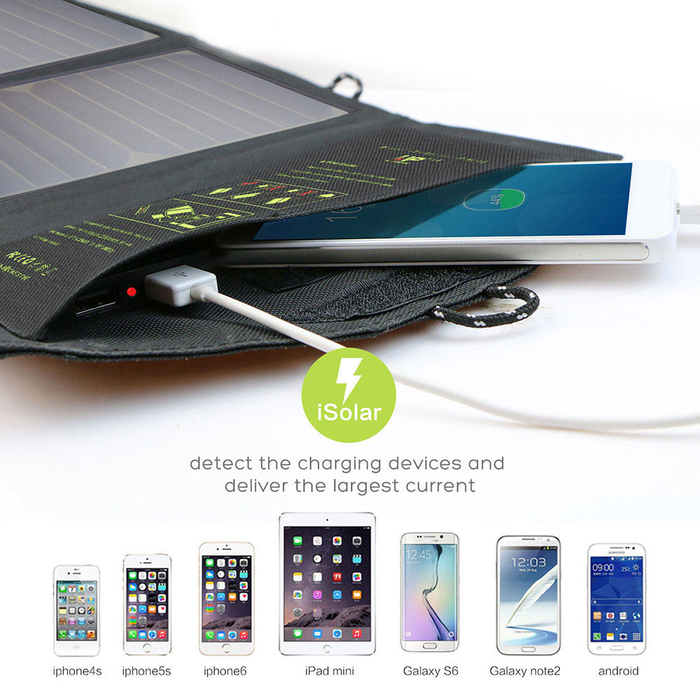 ALLPOWERS 21W Phone Charger 2 USB Solar Phone Charger for iPhone 6 6s 7 8 iPhone 10 iPhone X iPad mini iPad air Samsung LG Sony.