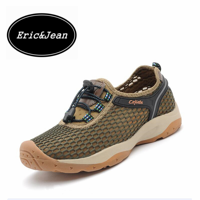 ФОТО Eric&Jean New Men's Summer Soft Breathable Men Mesh Lighted massage casual walking shoes Outdoor Shoes Beach Flip Flops