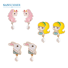 SANSUMMER Earrings Fashion Jewelry Hypoallergenic 925 Needle Stud Earring Girl Unicorn Rabbit Pearl Present 749