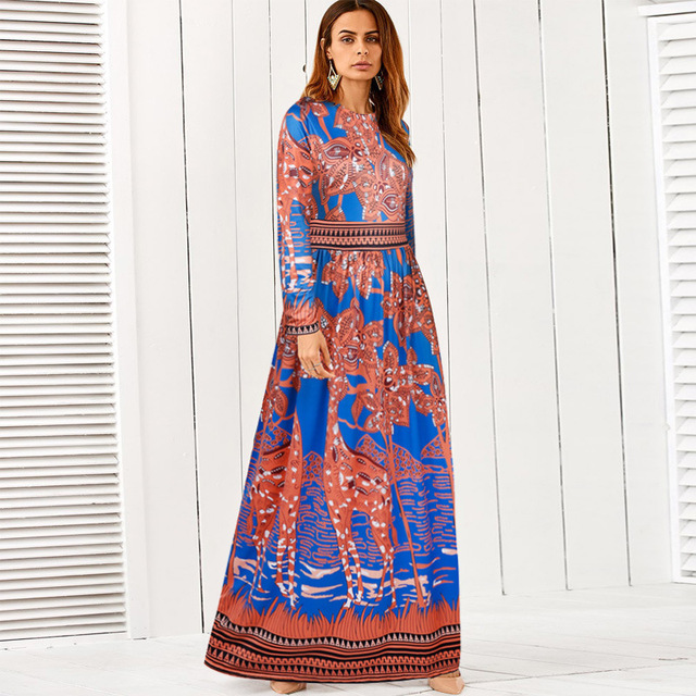 7dec0d1eea MILLYN Lato Maxi Sukienka New Elegant Women Casual Długie Suknie z Długim  Rękawem Żyrafa Druku Mody