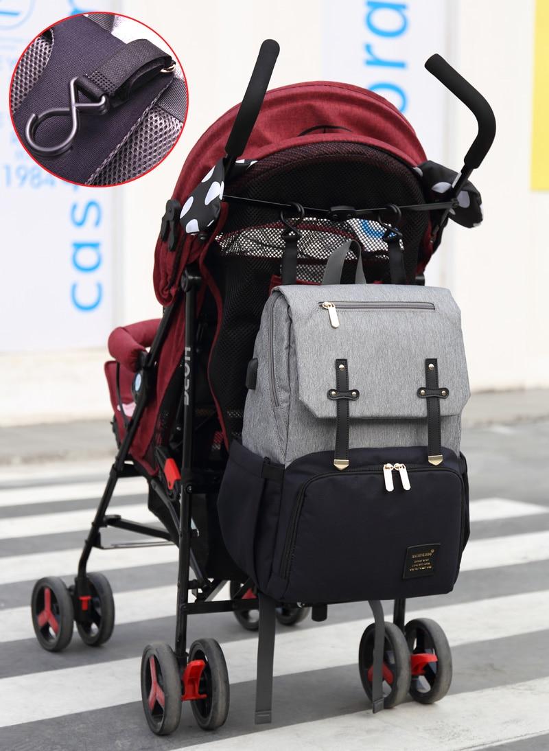 HTB1ZtcPaOYrK1Rjy0Fdq6ACvVXaf Diaper Bag Mummy Daddy Backpack Baby Stroller Bag Waterproof Oxford Handbag Nursing Nappy Kits Maternity Bag USB Warmer Holder