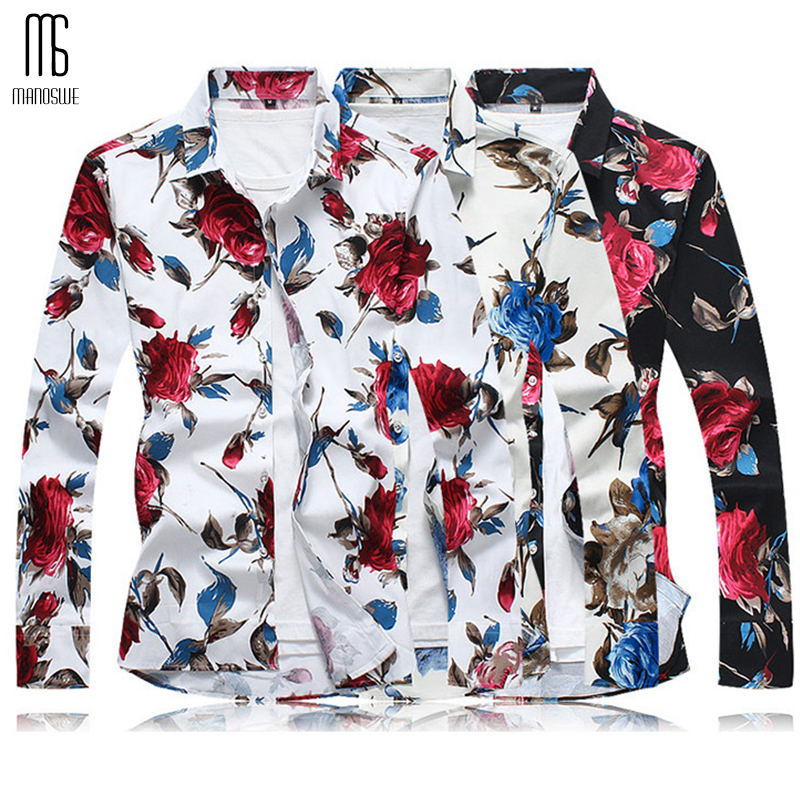 01a97fd2d484 Spring Floral Print Long Sleeve Shirts for Men Slim Fit Soft Comfortable  Tops Fashionable Holiday Beach Shirt Oversize XXXXXL