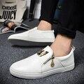 2016 Весной Новый Мужская Обувь Высокого Качества Роскошный Дизайнерский Бренд с Zip Мокасины Металлические Квартиры Повседневная Versa Мужская Обувь Zapatos Hombre