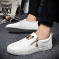 2016 Spring New Men Shoes High Quality Luxury Designer Brand With Zip Loafers Metal Flats Casual Versa Men Shoes Zapatos Hombre
