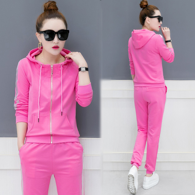AmberHeard 2019 Spring Autumn Women Sporting Suit Hooded Zip Top+Pant Sweatsuit Two Piece Set Tracksuit Outfit For Women Clothes