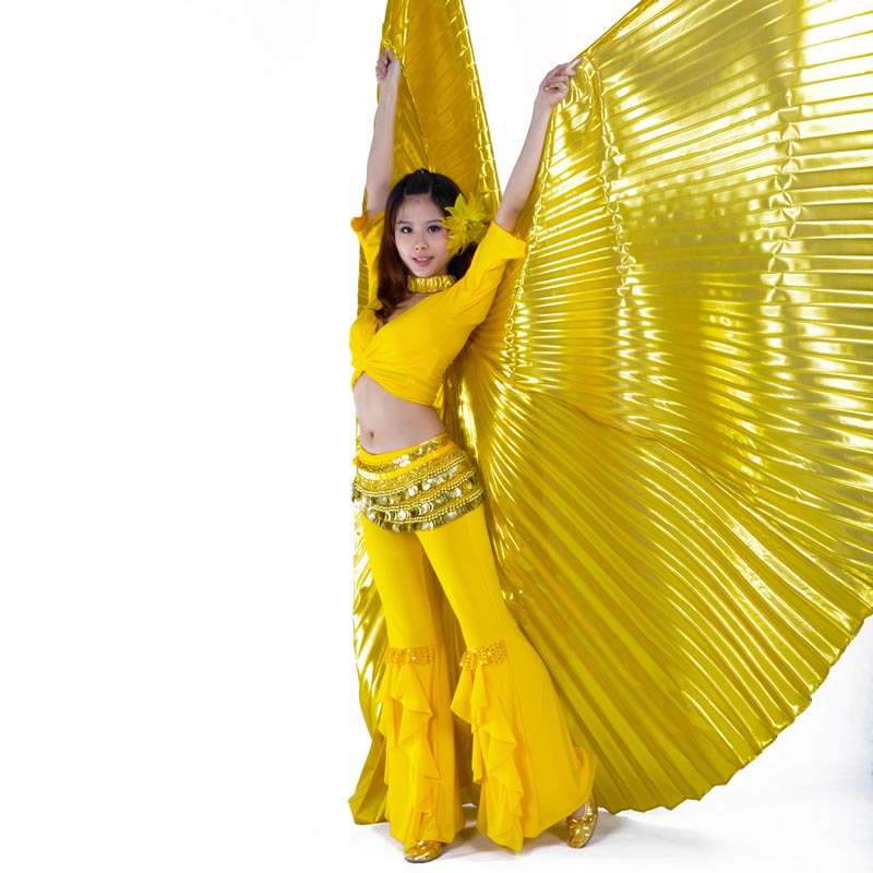 Hot Women Belly Dance Gold Wings 360 Degrees Belly Dance Isis Wings Oriental Design New Wings With Sticks