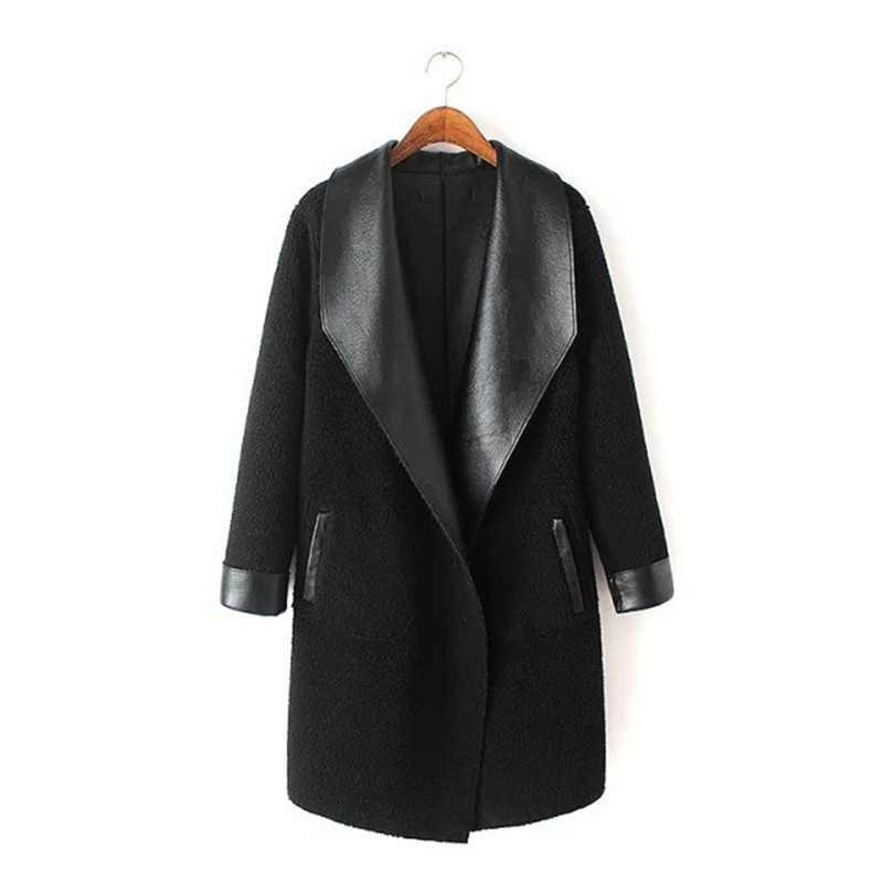 2019 Women's Lamb Cashmere PU Leather Jackets Long Autumn Winter Large Size Thick Lambskin Cardigan Outerwear Coats Plus Size