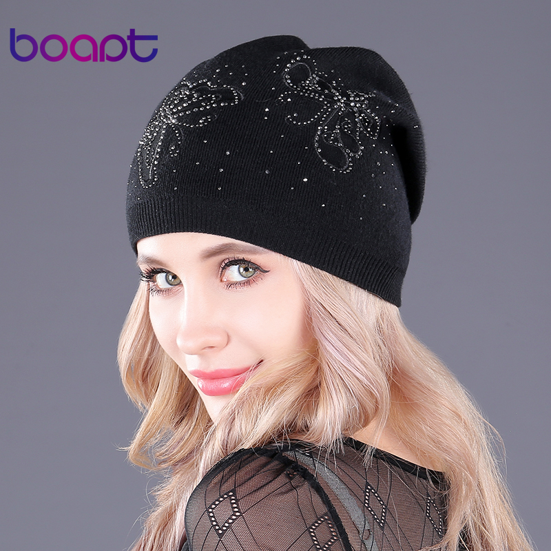 [boapt] Lace Butterfly Embroidery Knitted Beanie Cashmere Women's Caps Warm Thick Winter Hats Casual Female Skullies Beanies Hat