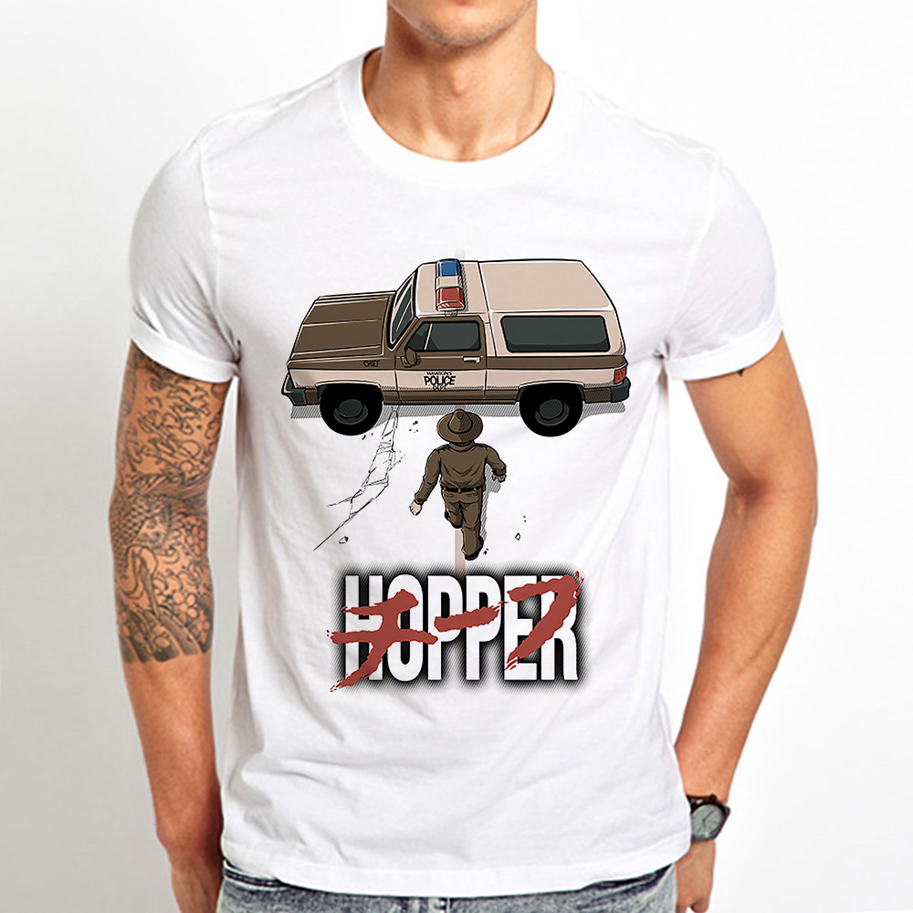 jim hopper <font><b>parody</b></font> akira funny t shirt men 2019 summer new white casual stranger things unisex cool <font><b>tshirt</b></font> homme image