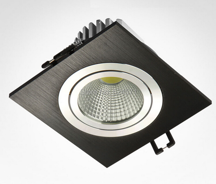 High Power 10W Silver shell/Black shell Square Dimmable COB LED downlight/led recessed ceiling down light lamp AC85-265V new products listed recessed led downlight cob 30w 40w led spot light led ceiling lamp ac85v 245v free shipping