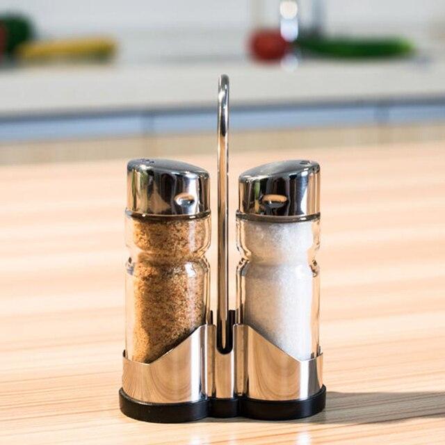 2pcs/set Glass Spice Jar Seasoning Box Salt Sugar Pepper Bottle Kitchen EMS DHL Free Shipping New product Promotion