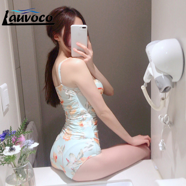 2018 Hot Women One Piece Swimsuit with Rahguard Solid Blue Pink Floral Printed Swimwear with Rashguard Leaves Printing Beachwear in Body Suits from Sports Entertainment