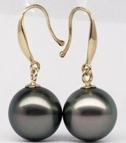 HOT AAA 10.5MM PERFECT ROUND TAHITIAN BLACK PEARL EARRING 14 GOLD