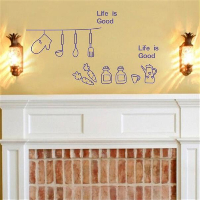 Kitchen Utensils Wallpaper idfiaf can remove wall stickers refrigerator kitchen kitchen
