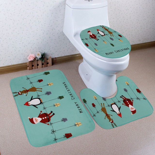 2018 New 3PCS Christmas Bathroom Non-Slip Pedestal Rug + Lid Toilet Cover + Bath Mat Set Christmas Decorations For Home #NE918