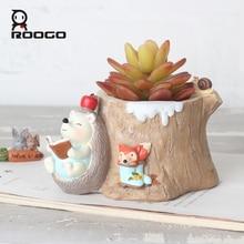 ROOGO succulent Plant pots Flower Pot Cartoon hedgehog Animal bonsai planter home decoration living room bedroom desktop decor