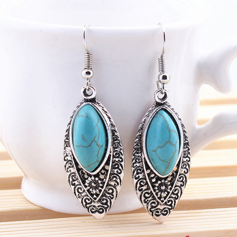 New Fashion Restoring Antique Ethnic Customs Plated Silver Oval Drop Shaped Long Dangle Earrings Jewelry Free Shipping  A198G