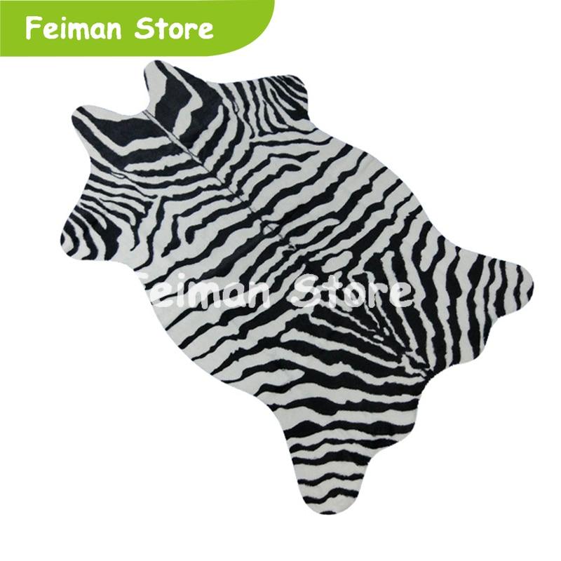 Zebra/Cow Goat Printed Carpet Velvet Imitation Leather Rugs Cowhide Animal Skins Natural Shape Carpets Decoration Mats 110*75cm