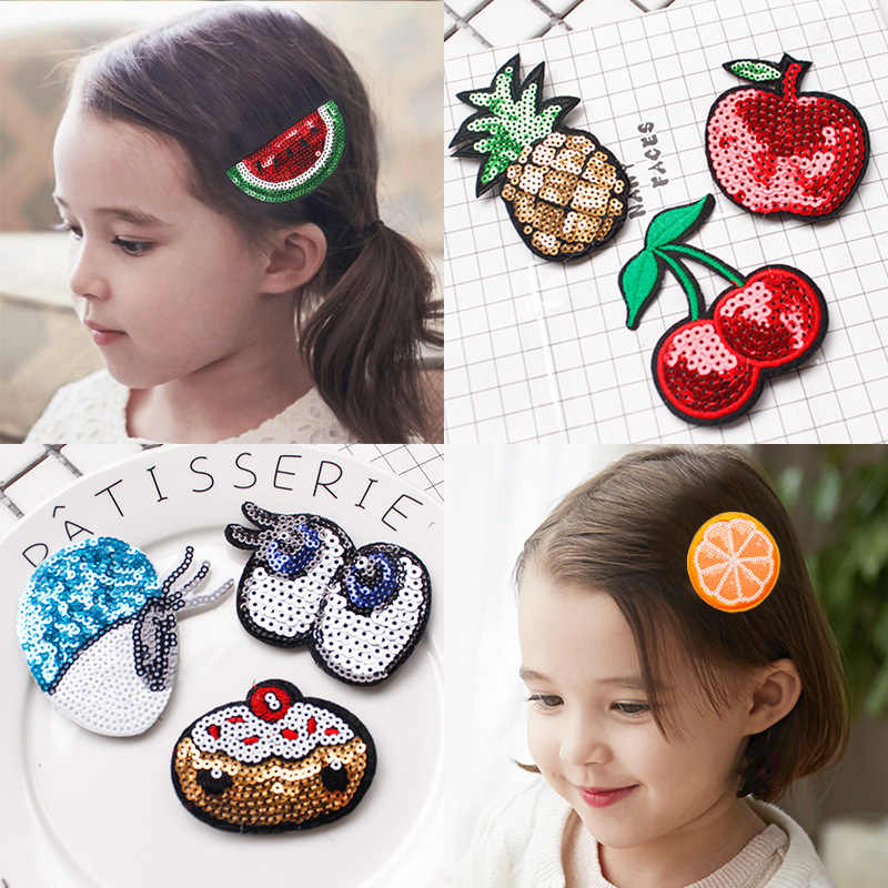 Cartoon Fruit Sticky Post Magic Tape Fringe Hair Sticker Clip Fixed Bangs Patch Stick Artifact Sequins Cute Girls Hair Tiara