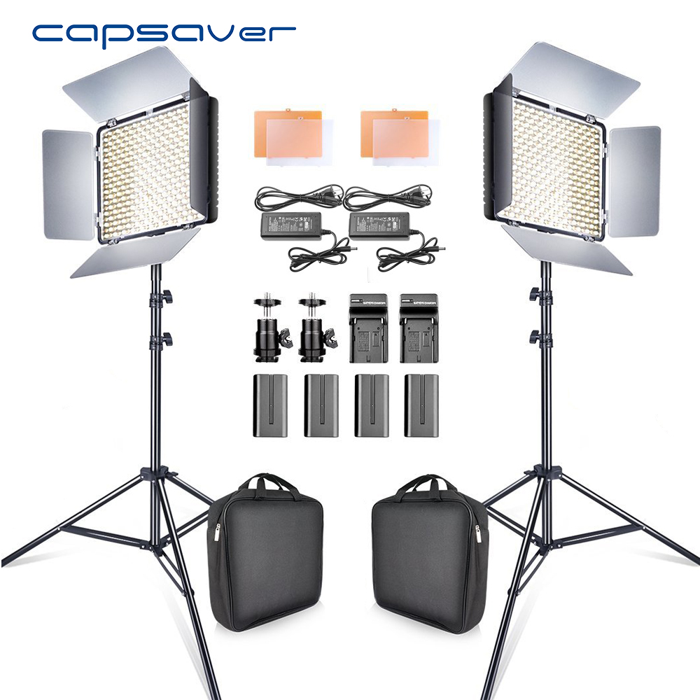 Capsaver 2 dans 1 Kit LED Vidéo Lumière Studio Photo LED Panneau Éclairage Photographique avec Trépied Sac Batterie 600 LED 5500 k CRI 95