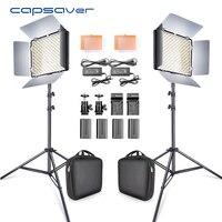 Capsaver 2 в 1 комплект светодио дный видео студия фото светодио дный Панель фотографическое освещение с штатив сумка Батарея 600 светодио дный 5500