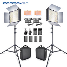 Capsaver 2 i 1 Kit LED Video Light Studio Foto LED Panel Fotolys med Tripod Bag Batteri 600 LED 5500K CRI 90