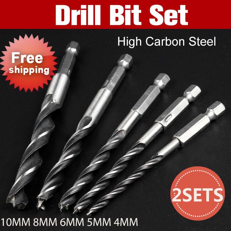 цена на 2sets Drill Bit Set 4mm 5mm 6mm 8mm 10mm Change Metal Tools 1/4 Hex Shank Wood HCS Rustproof Woodworking Drill Hexagonal Shank