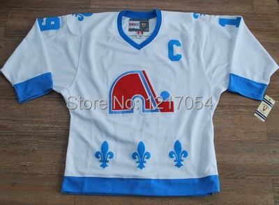 NHL JERSEY Quebec Nordiques Joe Sakic 19 Authentic White Throwback CCM  Heritage Hockey ... f90e5fa70