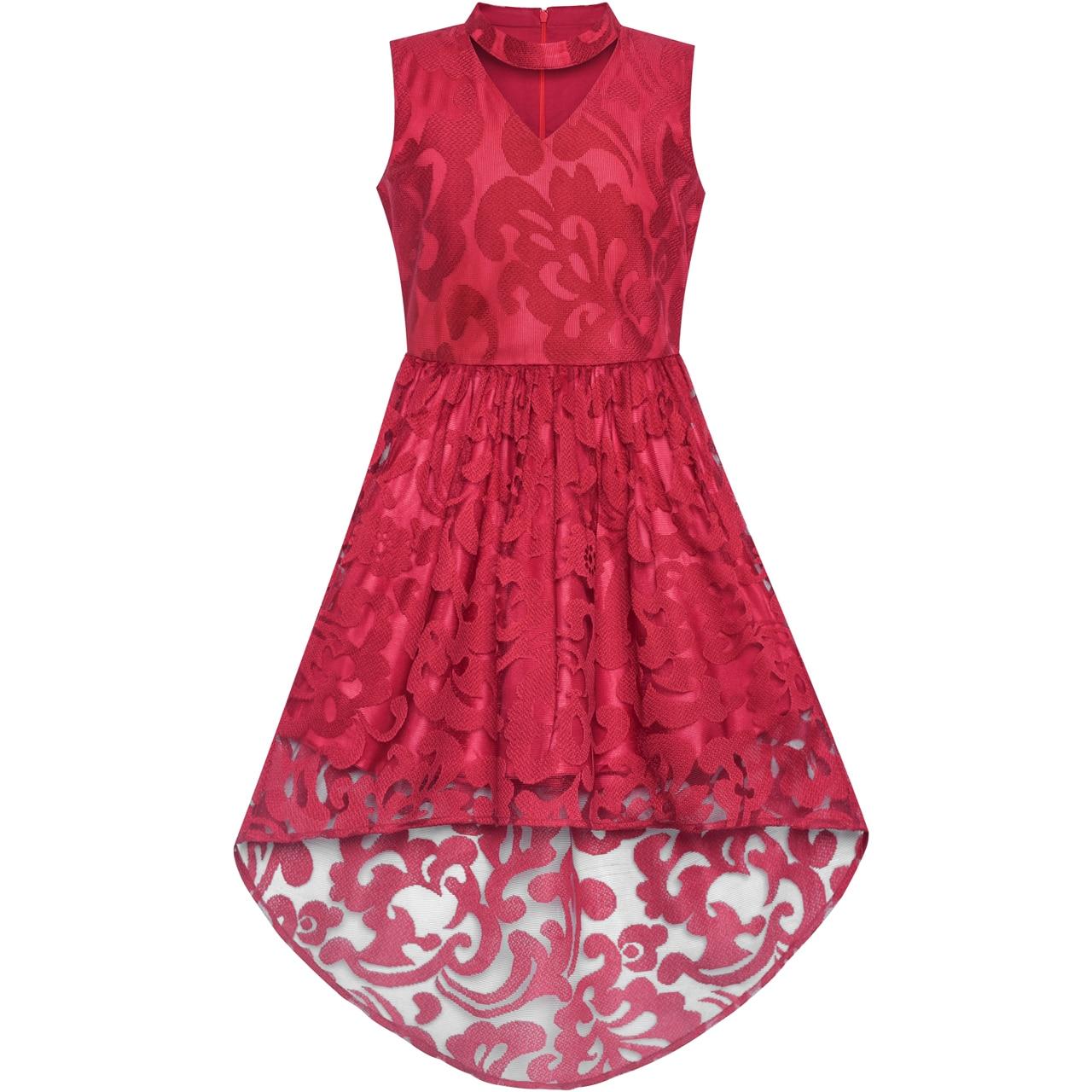 Flower Girl Dress Burgundy Lace Halter Hi-low Dress Dancing Party 2018 Summer Princess Wedding Dresses Girl Clothes Size 6-12