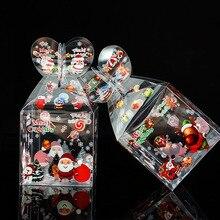 20pcs pvc 투명 사탕 상자 크리스마스 장식 선물 상자 및 포장 산타 클로스 눈사람 엘크 순 록 사탕 애플 상자