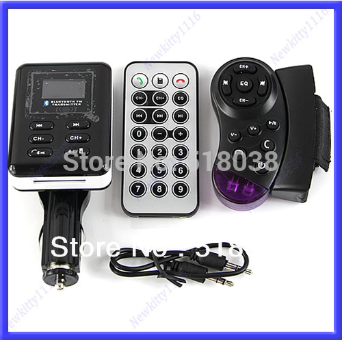 A25 Free Shipping New Bluetooth Car Kit MP3 Player FM Transmitter Steering Wheel USB SD MMC Card