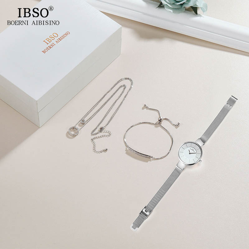 Image 5 - IBSO Brand Women Crystal Design Watch Bracelet Necklace Set Female Jewelry Set Fashion Creative Quartz Watch Lady's Gift-in Women's Watches from Watches
