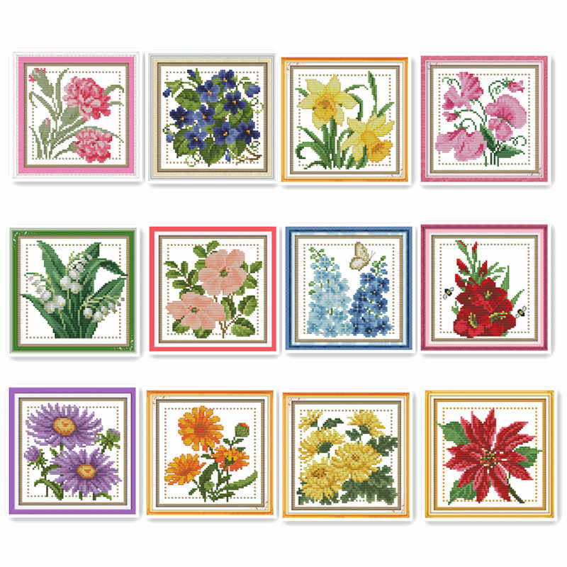 Mini small size December flowers plant flowers series hand - embroidery line embroidery cross stitch kit