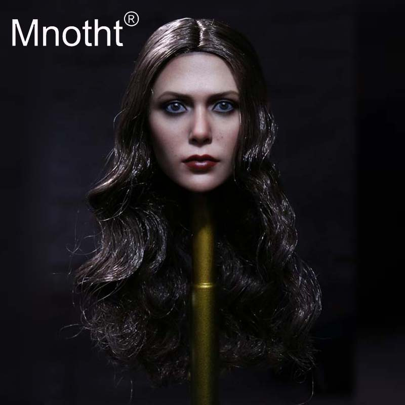 Mnotht Toys 1:6 Scale Women Scarlet Witch With Hair Female Head Sculpt Model 3 Style Red/Golden/Brown Hair Head hobbies m3