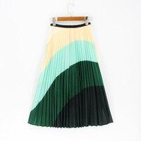 Srping Summer Women Skirts Cartoon Printing Midi Pleated Skirt Floral High Elasticity Jupe Femme Green Skirts Plus Size