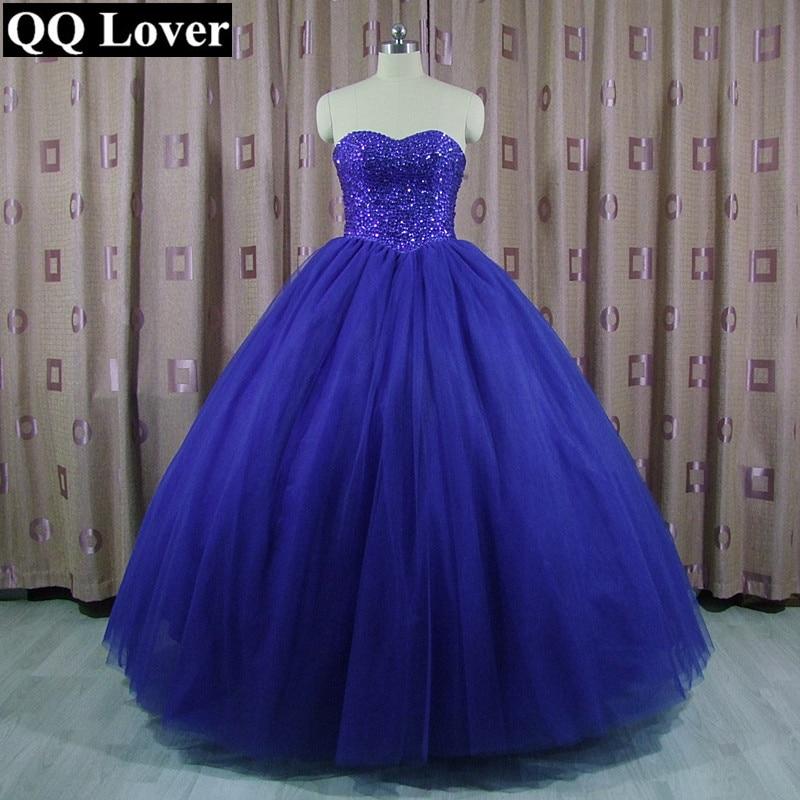 QQ Lover 2018 Sapphire Blue Luxury Beaded Ball Gown Wedding Dress ...